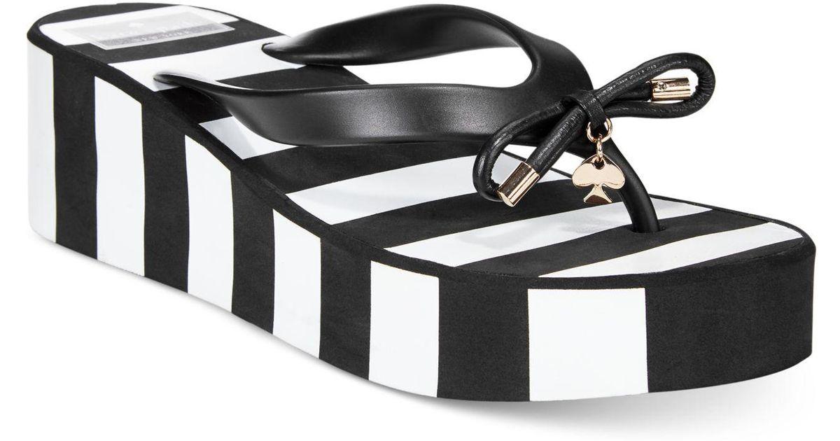 b6aa118d0f16 Lyst - Kate Spade Rhett Striped Wedge Sandals in Black