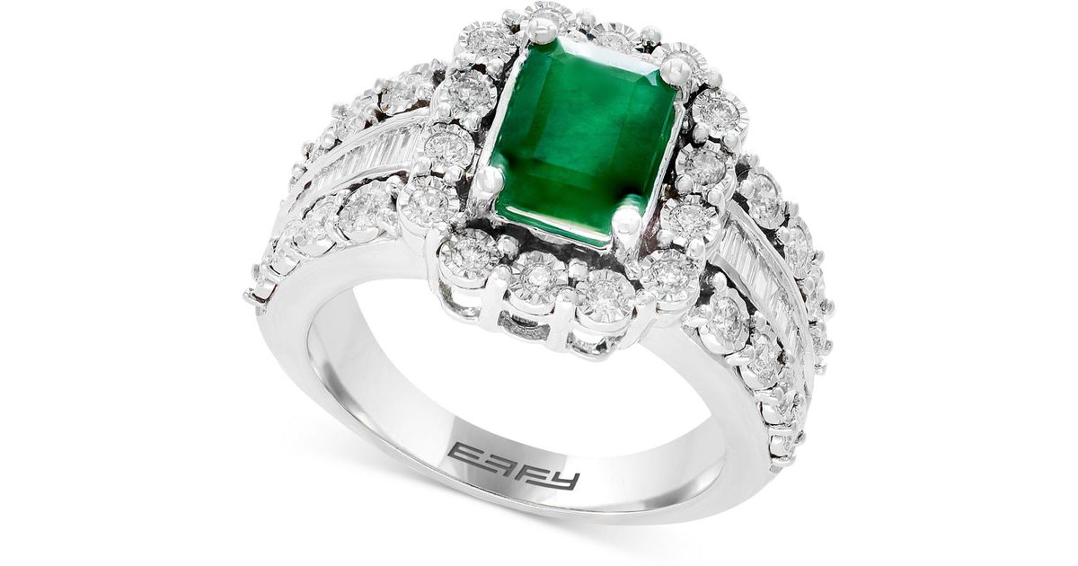 2492ddf0d429a Effy Collection Green Brasilica By Effy® Emerald (1-3/8 Ct. T.w.) & Diamond  (3/4 Ct. T.w.) Ring In 14k White Gold