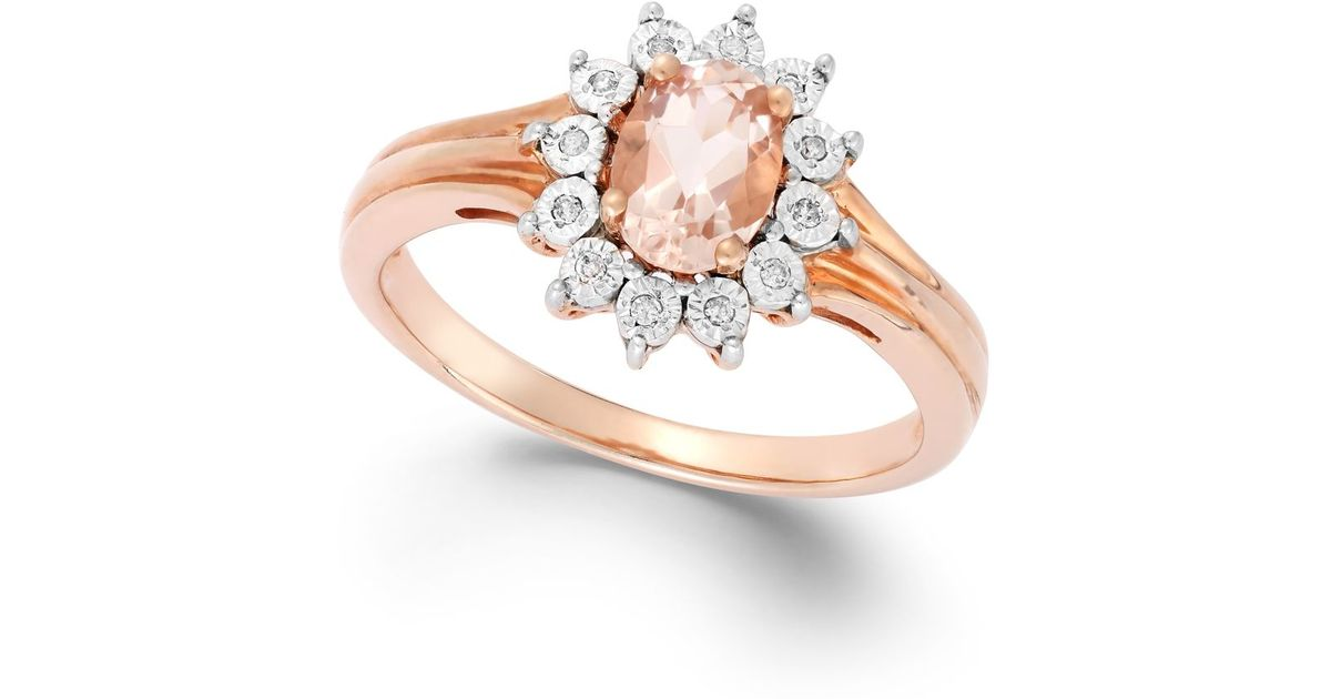 Macy s Diamond Accent And Morganite 5 8 Ct T w Ring In 10k Rose Gold