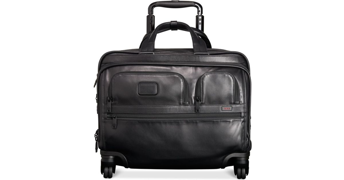 Tumi Alpha Leather Deluxe Spinner Laptop Briefcase In