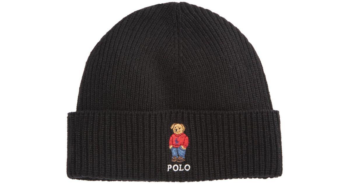Lyst - Polo Ralph Lauren Polo Bear Cuffed Hat in Black for Men 0f46fea9791