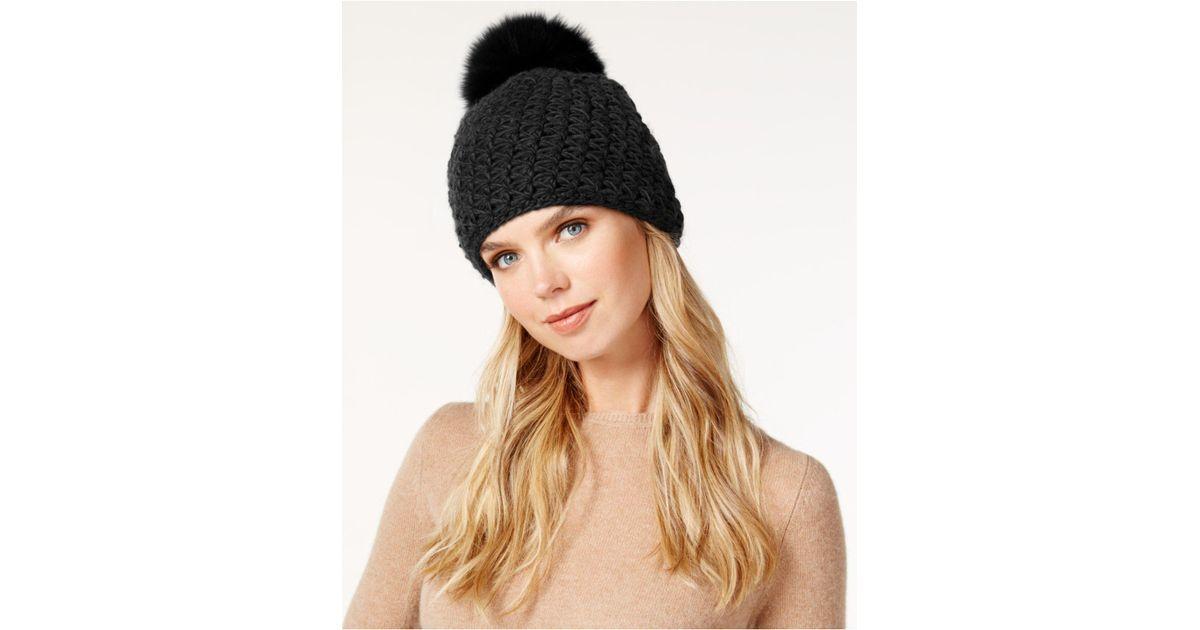 ce7762fc203 Lyst - Surell Star Stitched Knit Fox Fur Pom Hat in Black