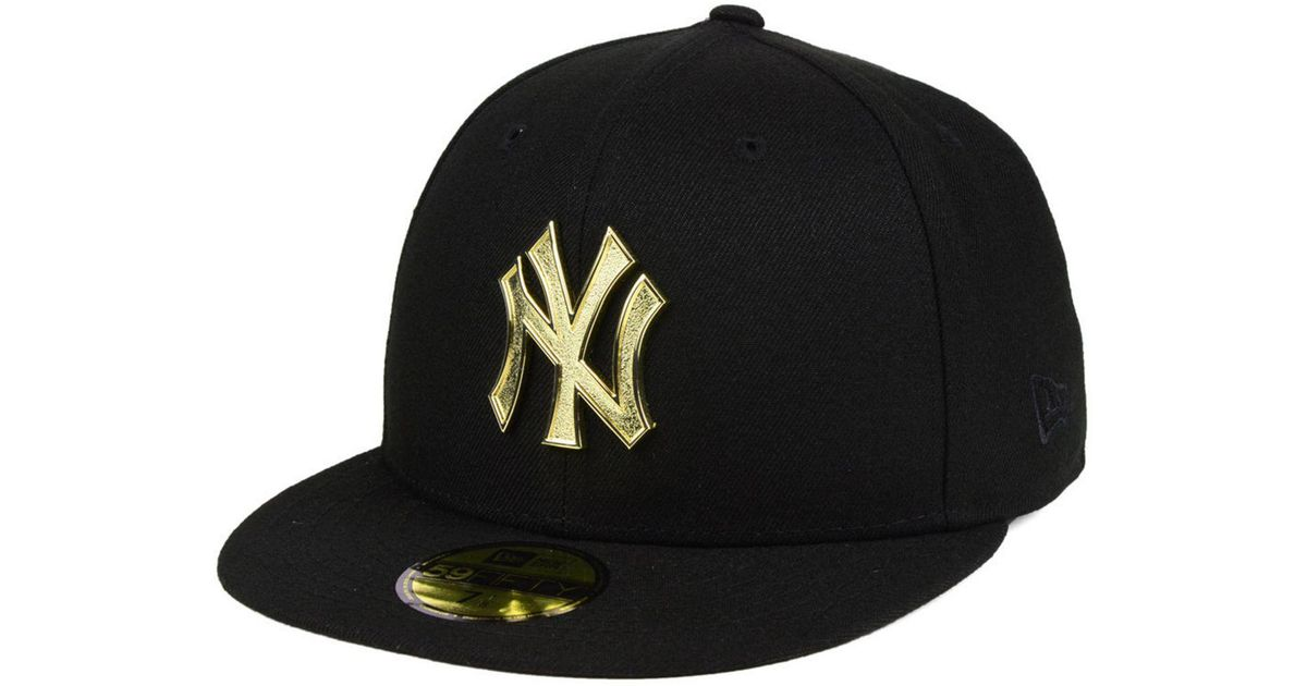 dd9868fd6ca ... coupon for lyst ktz new york yankees golden finish 59fifty fitted cap  in black for men