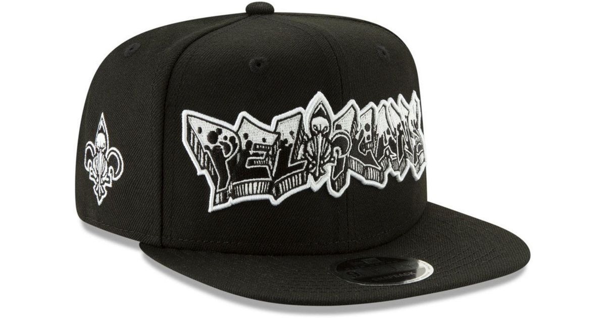 reputable site ab204 139d7 KTZ New Orleans Pelicans Retroword Black White 9fifty Snapback Cap in Black  for Men - Lyst