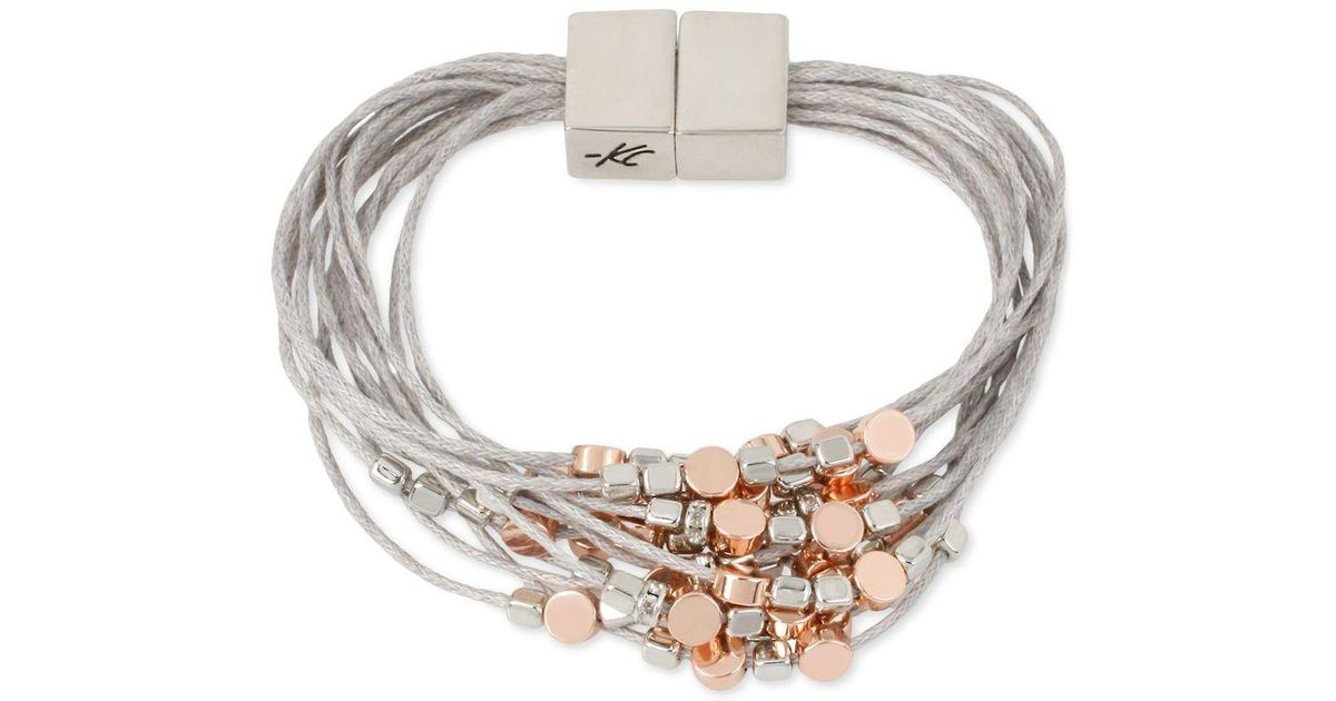 kenneth cole two tone beaded multi layer bracelet in gray