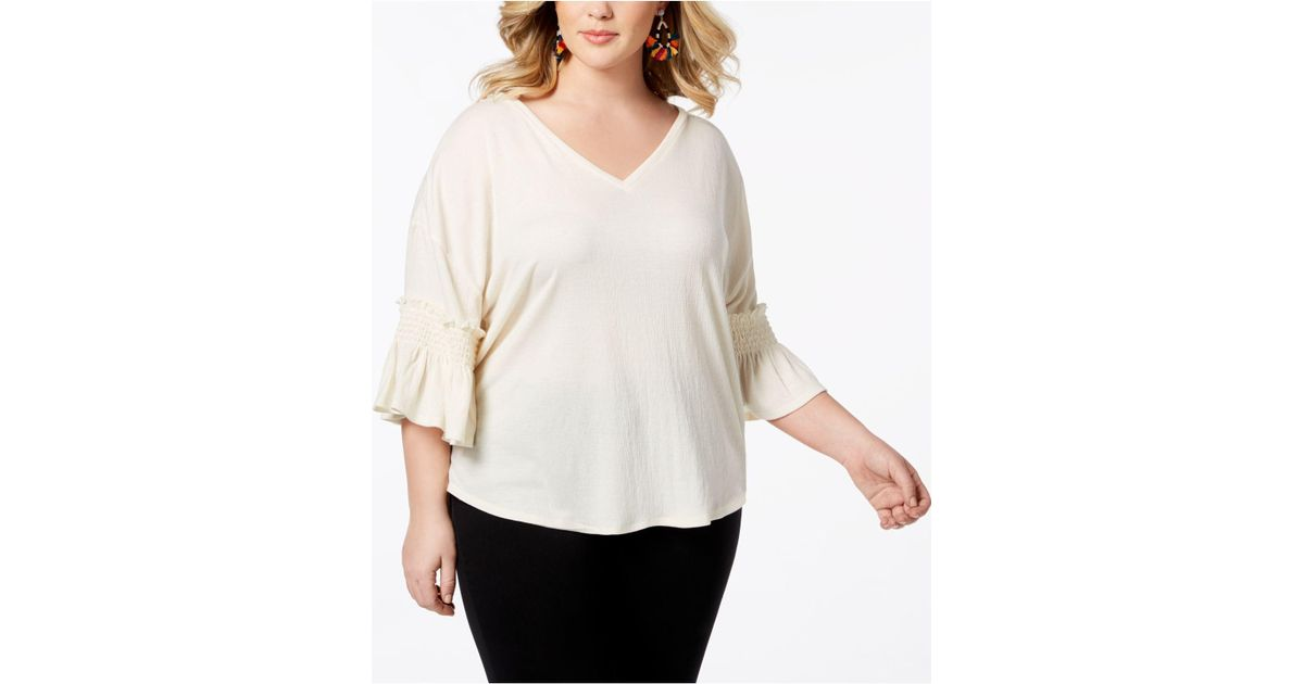 bd3cae86085 Lyst - Love Scarlett Plus Size Smocked-ruffle Sleeve Top in Natural - Save  33.33333333333333%