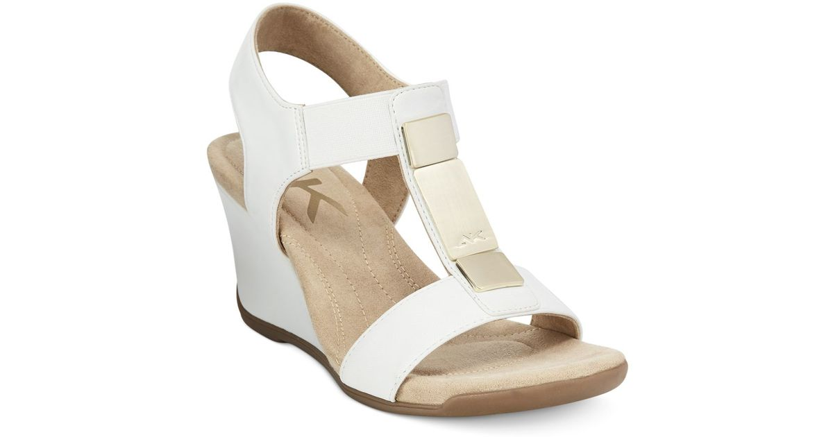 klein wedge sandals only at macy s in white lyst