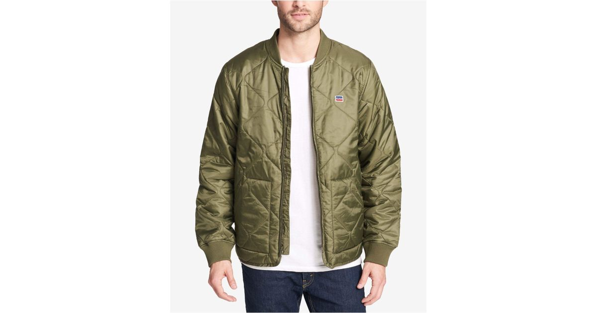 Levis Green Diamond Quilted Depot Jacket For Men