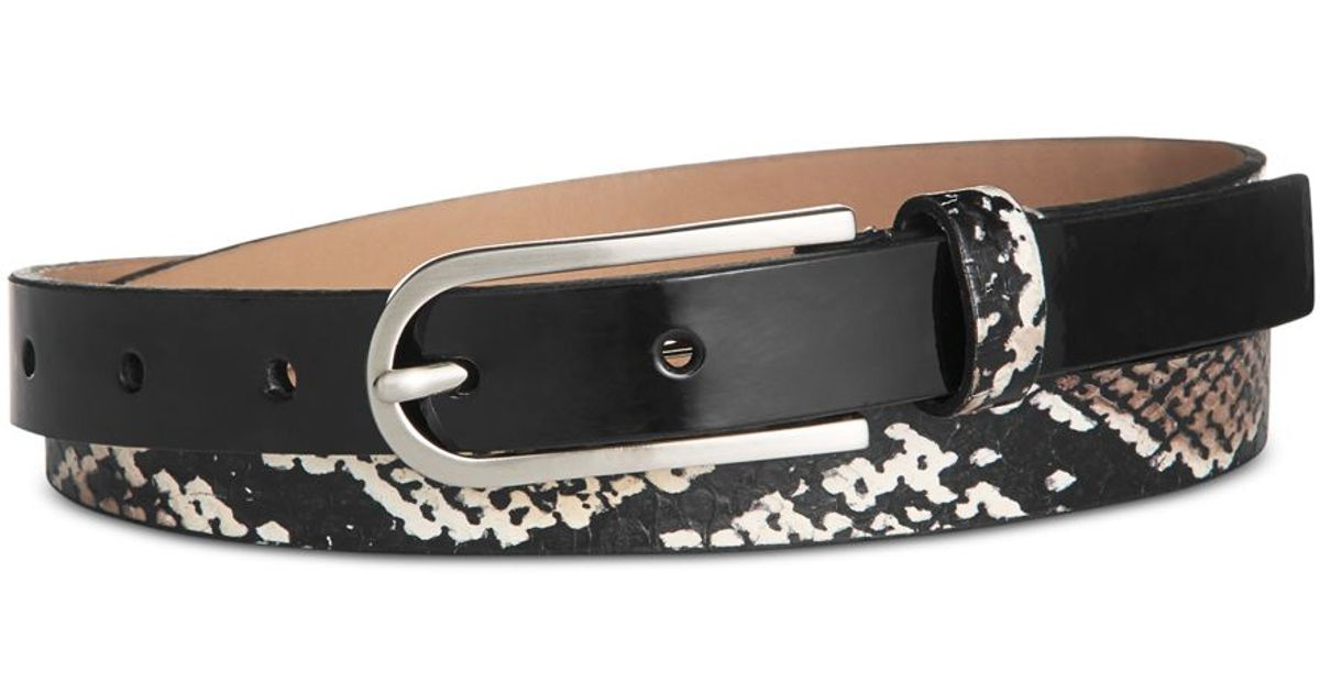 calvin klein snake print and patent leather belt in