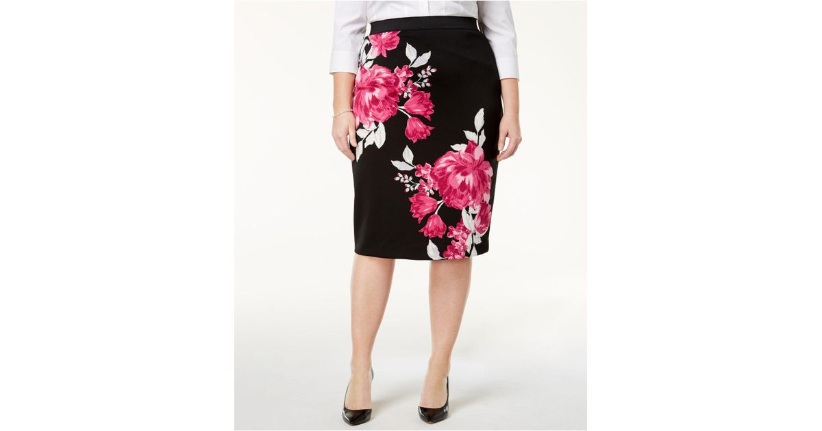 73315f6d60 Alfani Plus Size Floral-print Pencil Skirt, Created For Macy's in Black -  Lyst