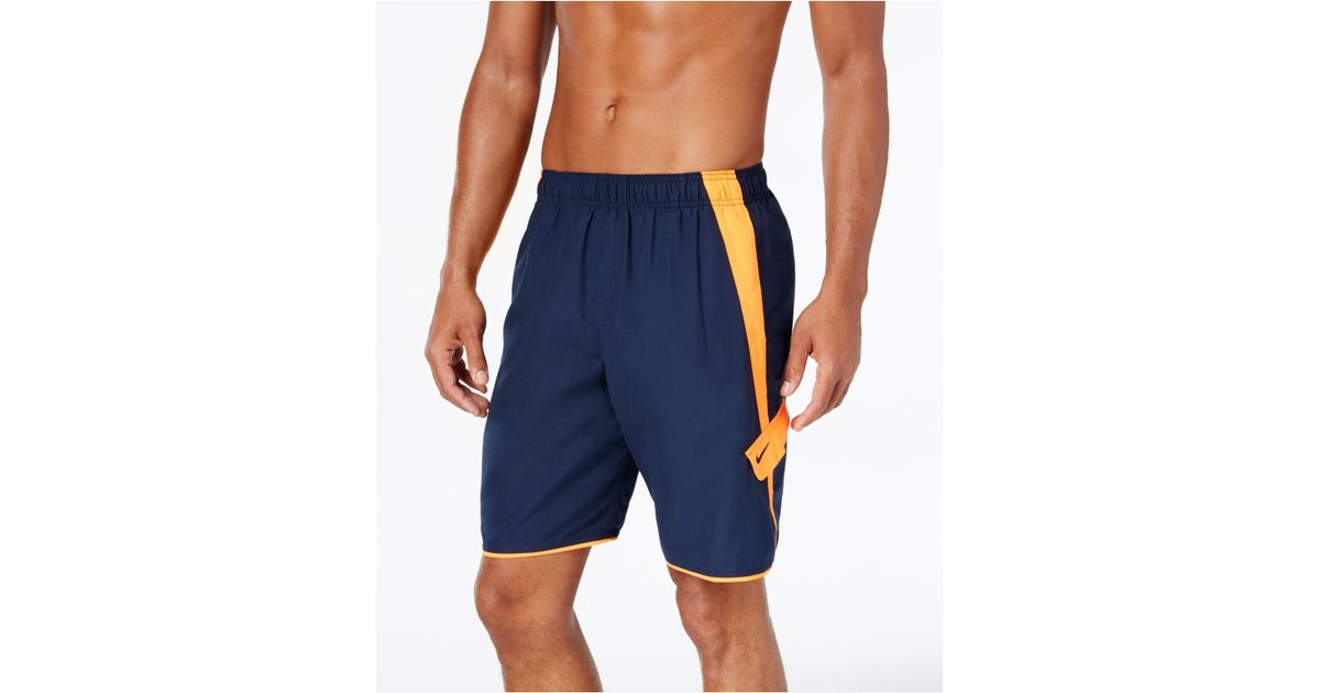 Nike men 39 s big and tall core cargo swim shorts in blue for for Mens swim shirt big and tall