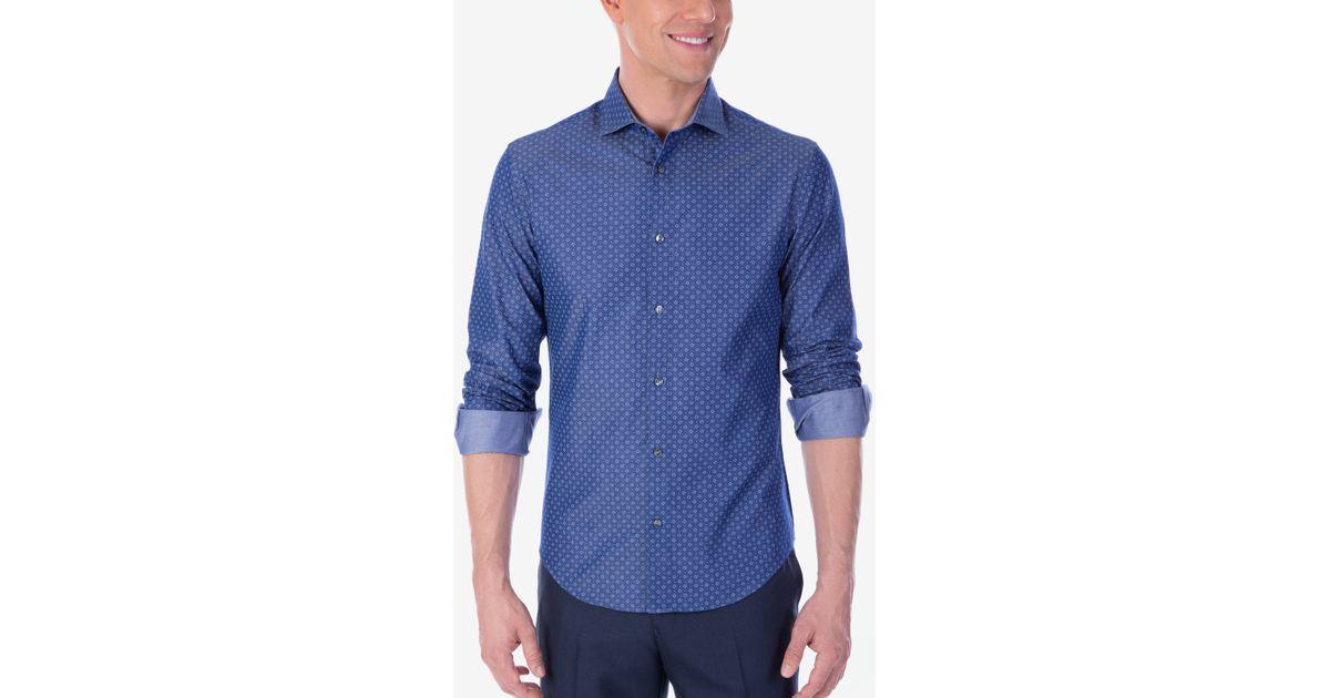 Calvin klein x men 39 s extra slim fit reversible chambray for Calvin klein slim fit stretch shirt