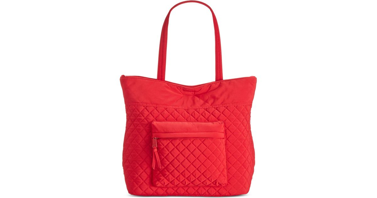 Calvin Klein Reversible Microfiber Quilted Tote In Red