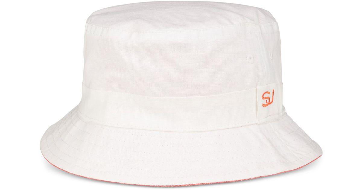 Sean John Men S Reversible Linen Bucket Hat In White For