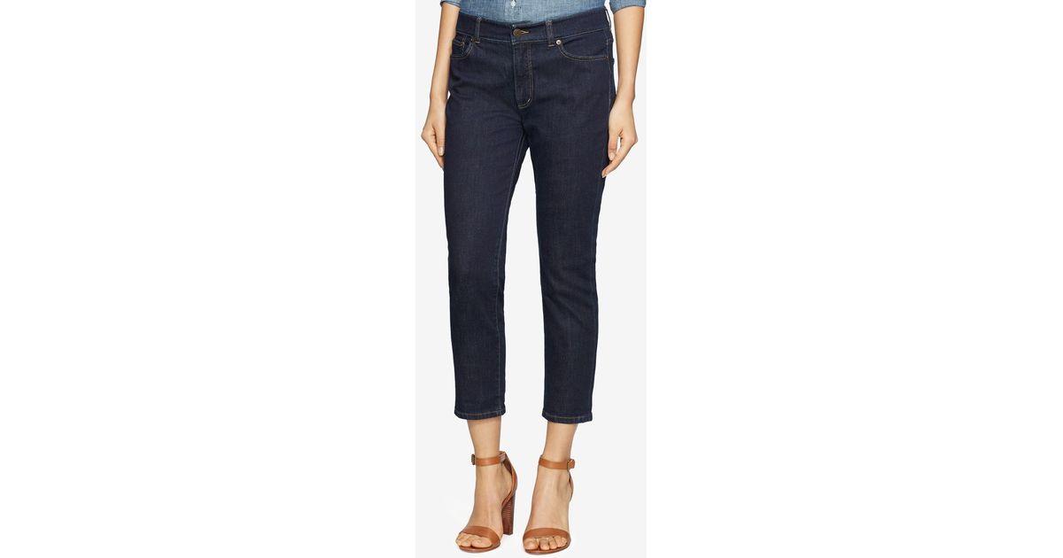 d9deca768acdf Lyst - Lauren by Ralph Lauren Premier Straight Cropped Jeans in Blue