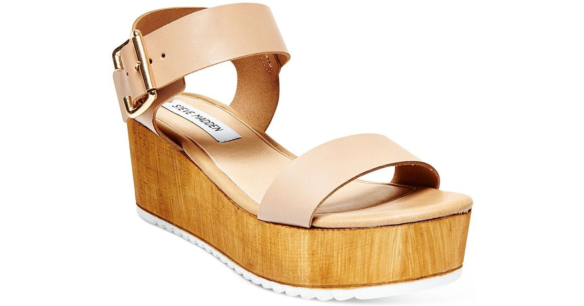 9265cec38a9c Lyst - Steve Madden Women s Nylee Wedge Sandals in Natural
