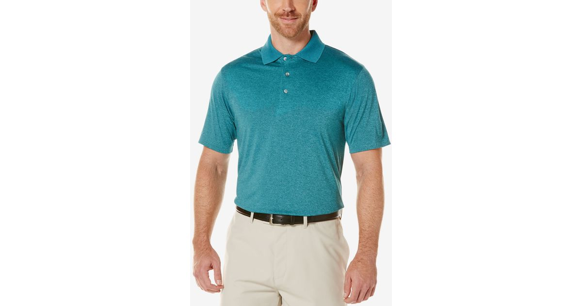 Pga tour men 39 s heathered golf polo shirt in blue for men for Mens teal polo shirt