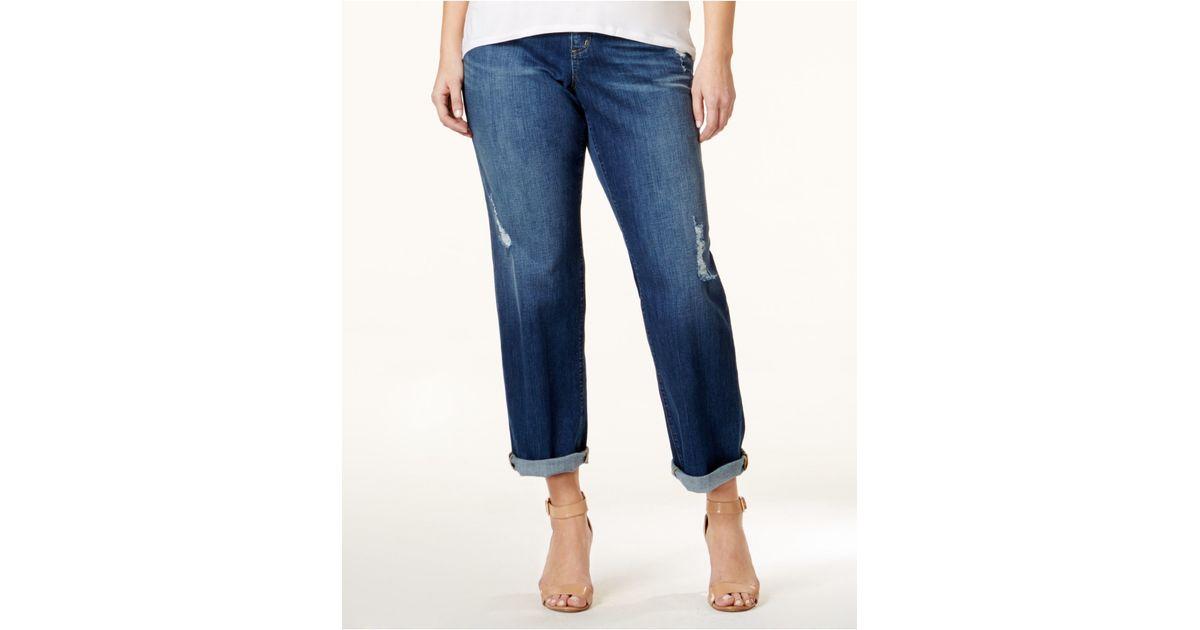 79de1259121 Lyst - Michael Kors Plus Size Ripped Dillon Boyfriend Jeans in Blue