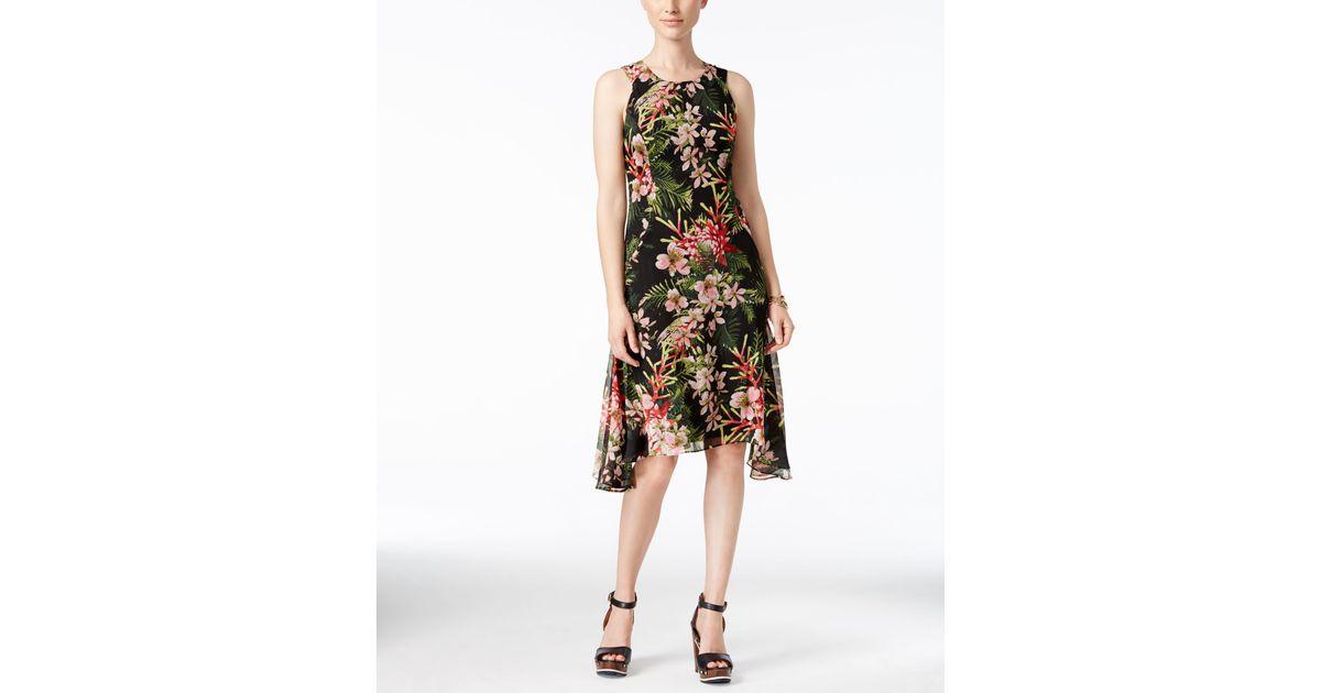 Tommy Hilfiger Floral Print Handkerchief Hem Chiffon Dress