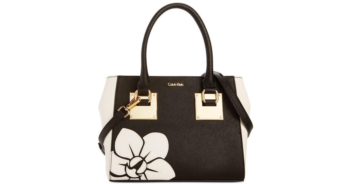 Calvin Klein Small Saffiano Flower Crossbody In Black | Lyst