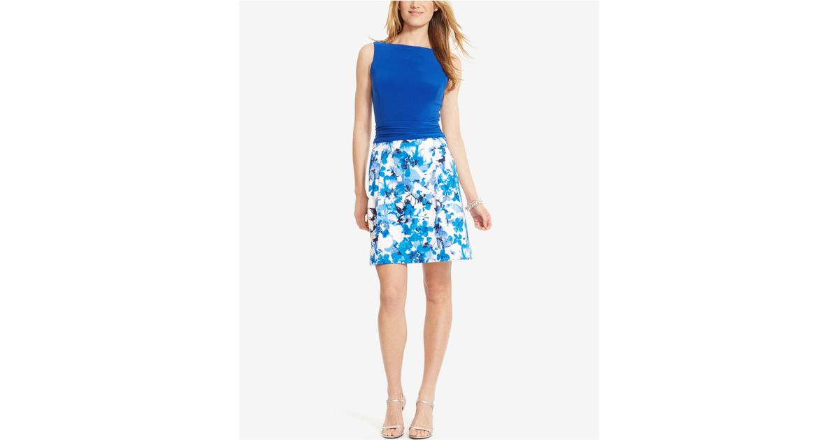 American Living Floral Print Sateen Skirt Dress In Blue Lyst
