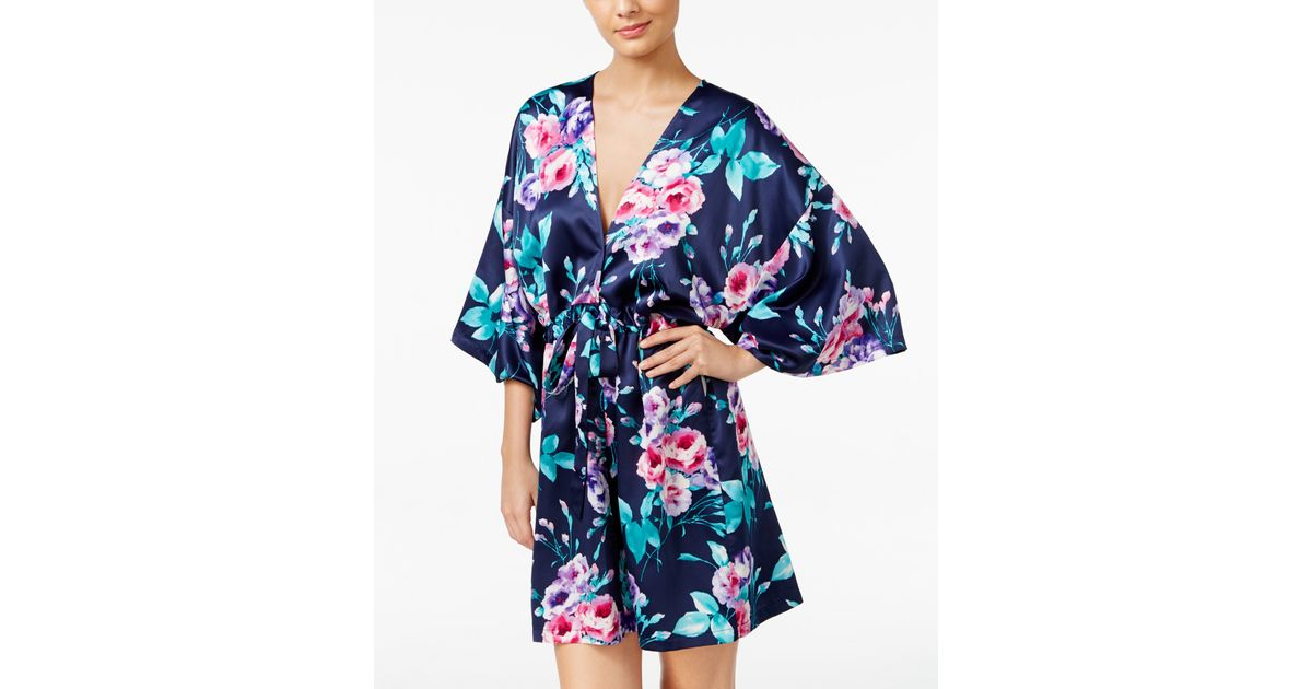 Lyst - Linea Donatella Amour Bridesmaid Charmeuse Wrap Robe in Blue