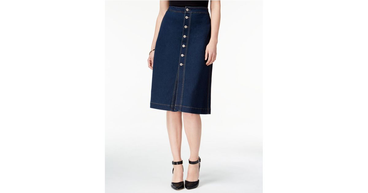 style co button front denim skirt in blue lyst