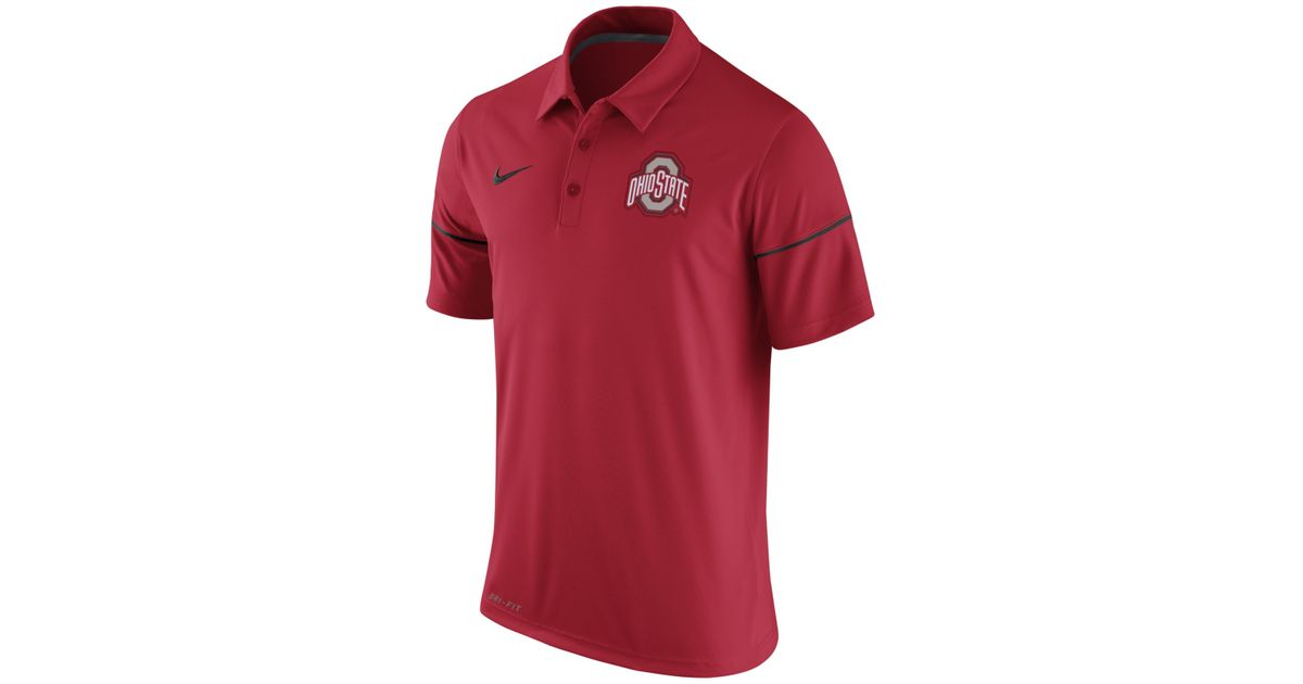 Nike men 39 s ohio state buckeyes team issue polo shirt in for Ohio state shirts mens