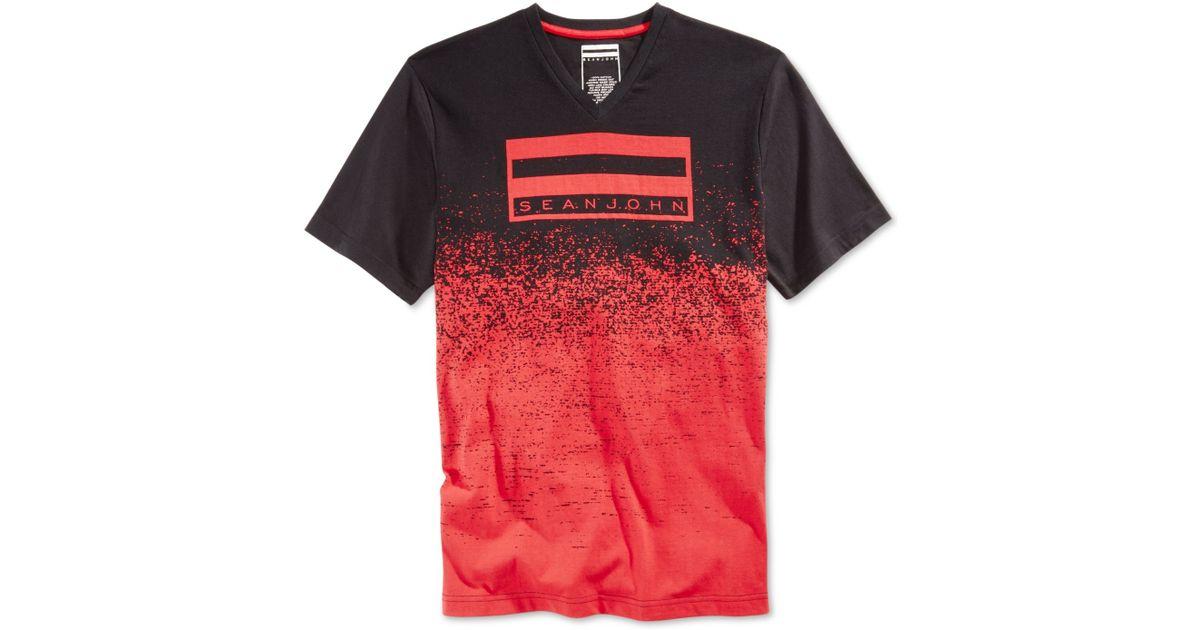 Sean john men 39 s colorblocked graphic print t shirt in red for Sean john t shirts for mens