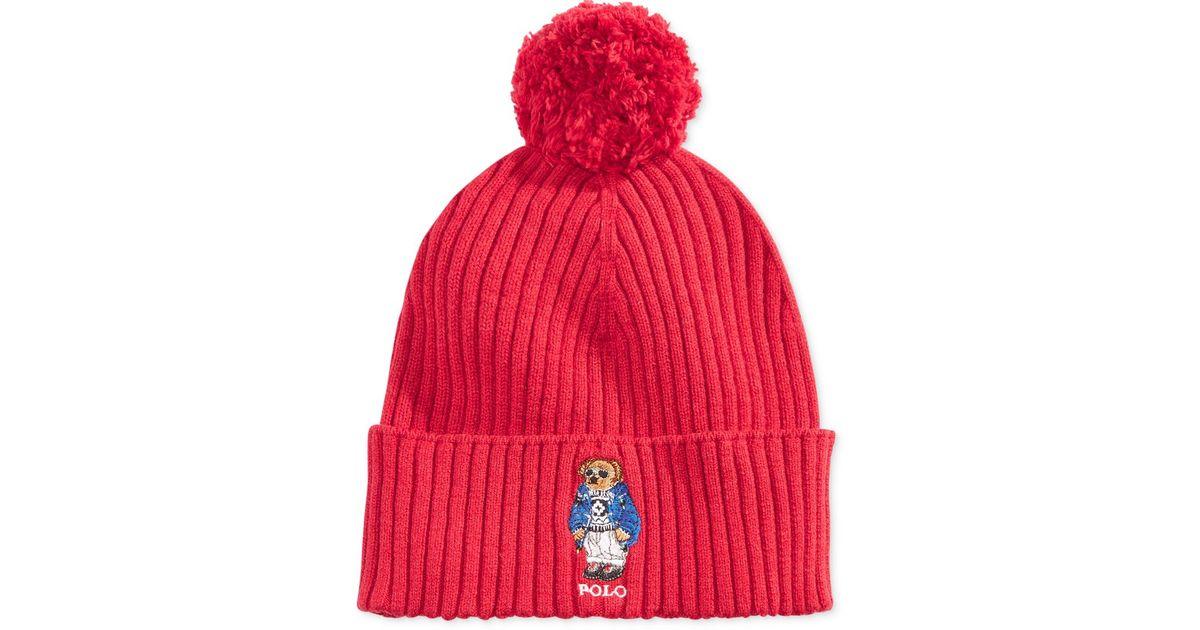 Lyst - Polo Ralph Lauren Men s Ski Bear Pom-pom Hat in Red for Men 35ed9292e69b
