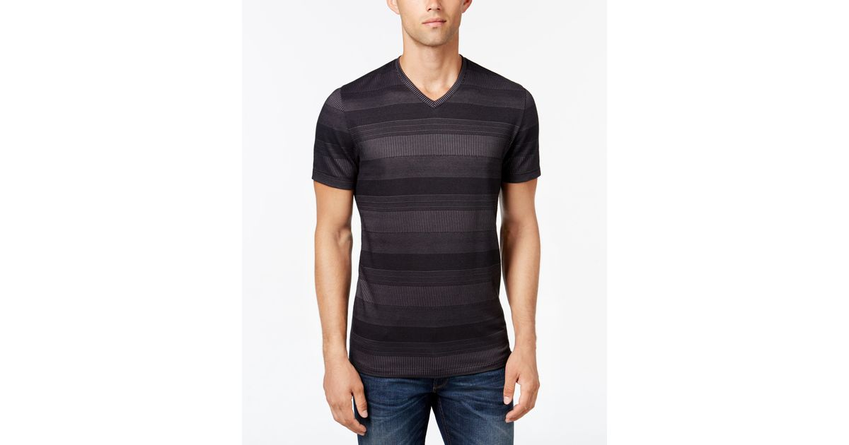 Alfani men 39 s big and tall stripe v neck t shirt in black for Tall v neck t shirts
