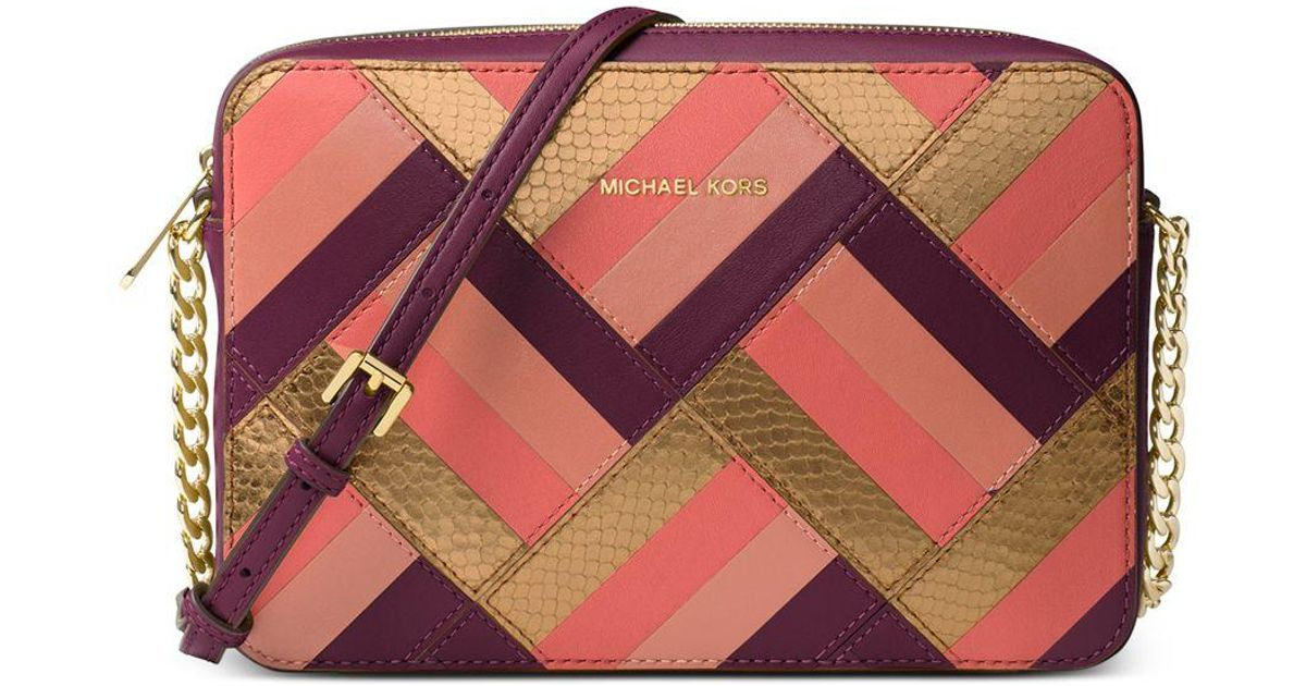 a47d28449abf Lyst - Michael Kors Michael Marquetry Patchwork Jet Set Travel Large East  West Crossbody