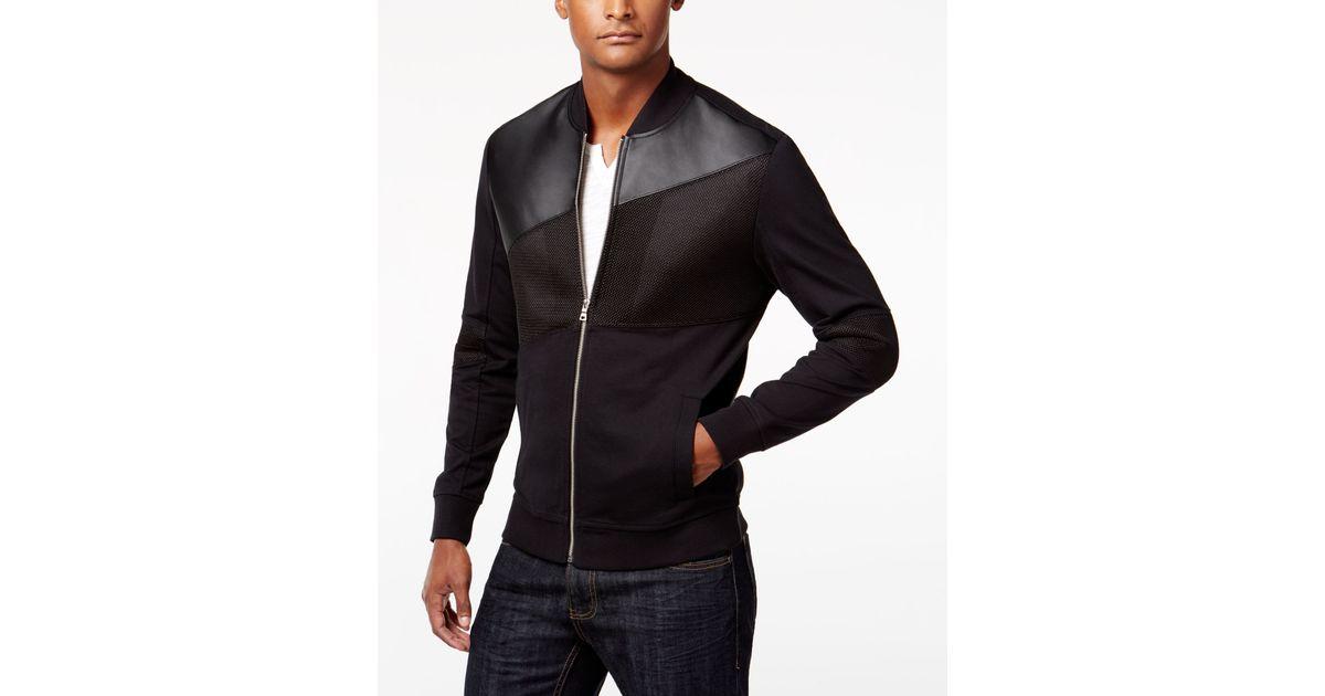 inc international concepts s mixed media bomber jacket