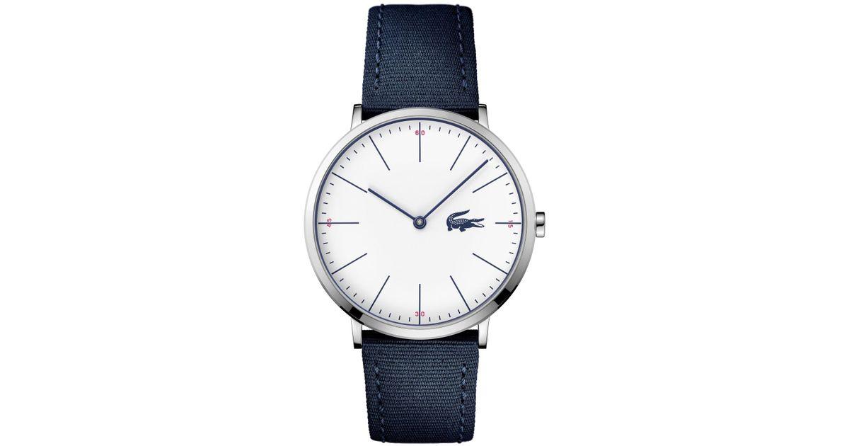 d14b4079bb551 Lyst - Lacoste Men s Moon Ultra Slim Navy Blue Nylon Strap Watch 40mm in  Blue for Men