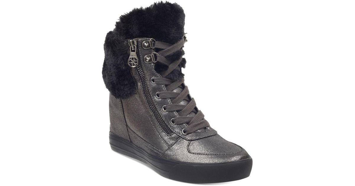 f6282c5c51d Lyst - Guess Dustyn Wedge Sneakers