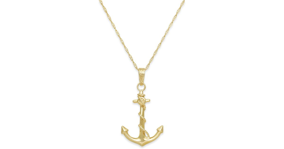 Lyst macys mens anchor pendant necklace in 10k gold in metallic lyst macys mens anchor pendant necklace in 10k gold in metallic for men aloadofball Gallery