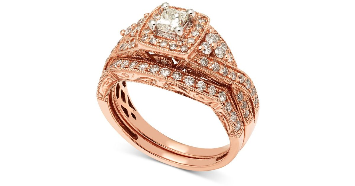 Macy s Diamond Milgrain Bridal Set 1 Ct T w In 14k Rose Gold in Multi
