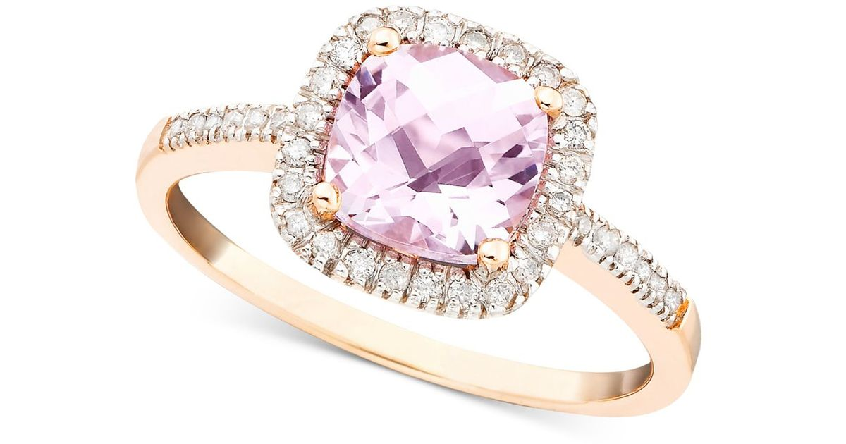 Macy s Pink Amethyst 1 1 3 Ct T w And Diamond 1 5 Ct T w Ring In