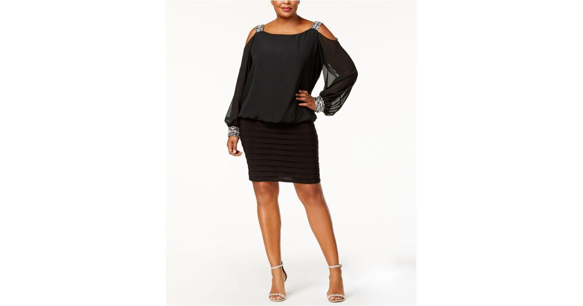 Betsy & Adam Black Plus Size Cold-shoulder Embellished Blouson Dress