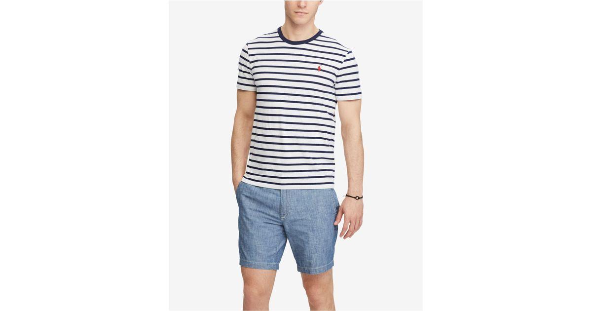 Lyst - Polo Ralph Lauren Men\u0027s Custom Slim Fit Striped Cotton T-shirt in  Blue for Men