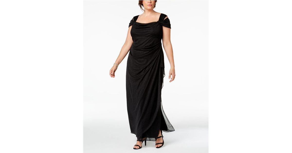 2d2b1408cde Lyst - Alex Evenings Plus Size Long Mesh Cold Shoulder Dress (black)  Women s Dress in Black - Save 13%