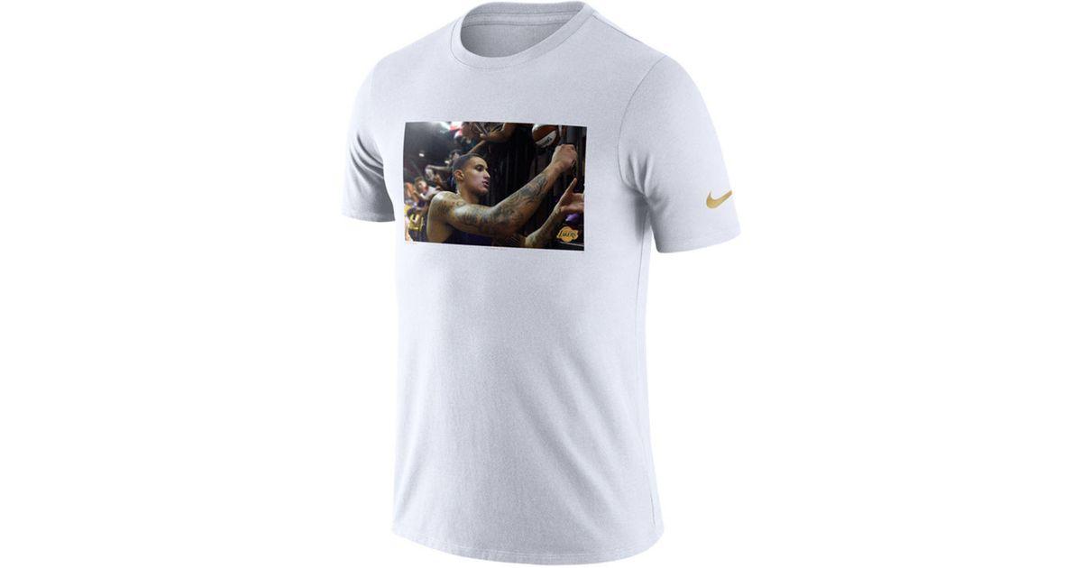 separation shoes 71861 4bc61 Nike White Kyle Kuzma Los Angeles Lakers Rookie Photo Reel T-shirt for men