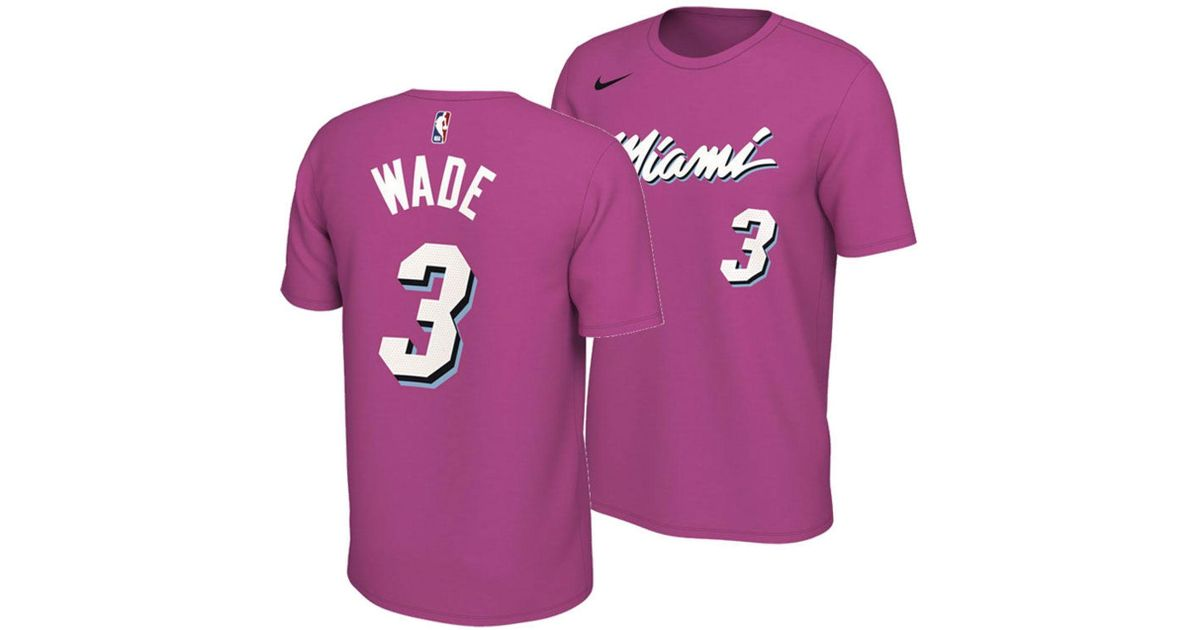 quality design 93d81 5c5c5 Nike Pink Dwyane Wade Miami Heat Earned Edition Player T-shirt for men
