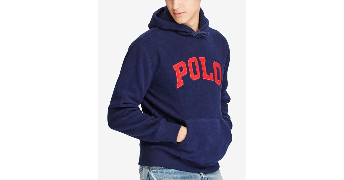 7e847dba Polo Ralph Lauren Men's Graphic-print Fleece Hoodie in Blue for Men - Lyst