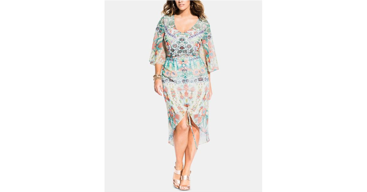 City Chic Multicolor Trendy Plus Size Budapest Ruched Dress
