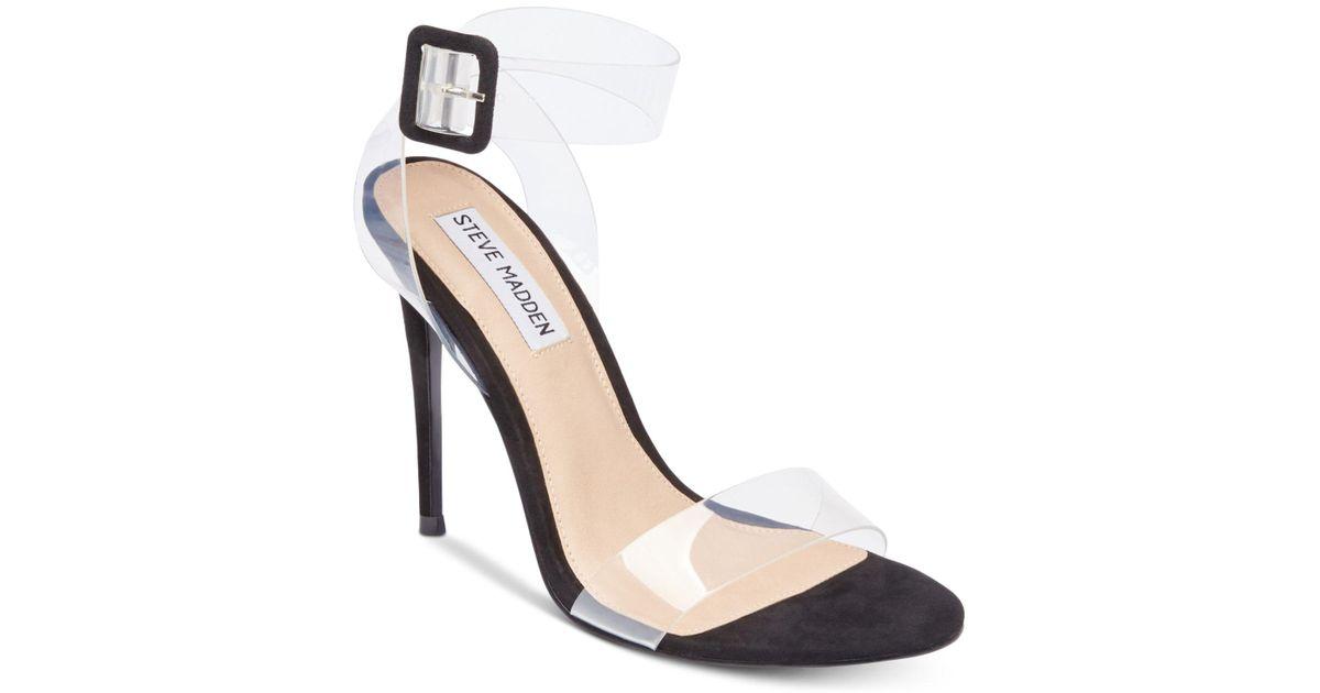 4a1a3e88bfd5 Lyst - Steve Madden Seeme Lucite Dress Sandals in Black