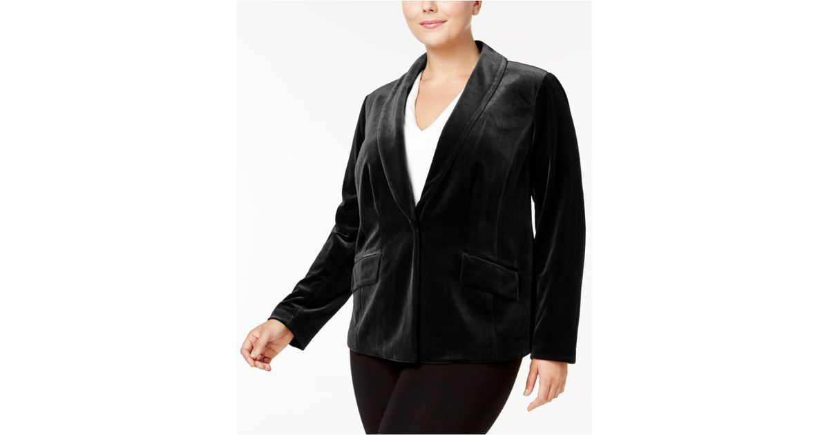 9ca04951d1e Lyst - INC International Concepts Plus Size Velvet Blazer in Black - Save 8%