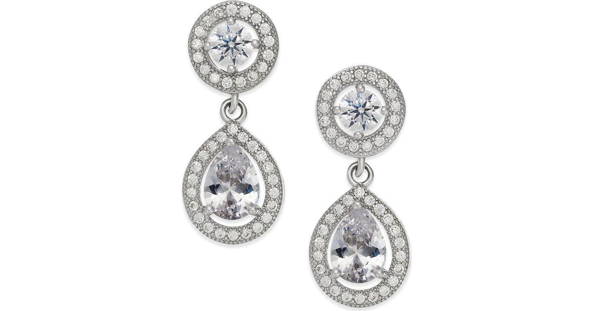 Lyst Macy S Cubic Zirconia Teardrop Earrings In Sterling Silver Metallic