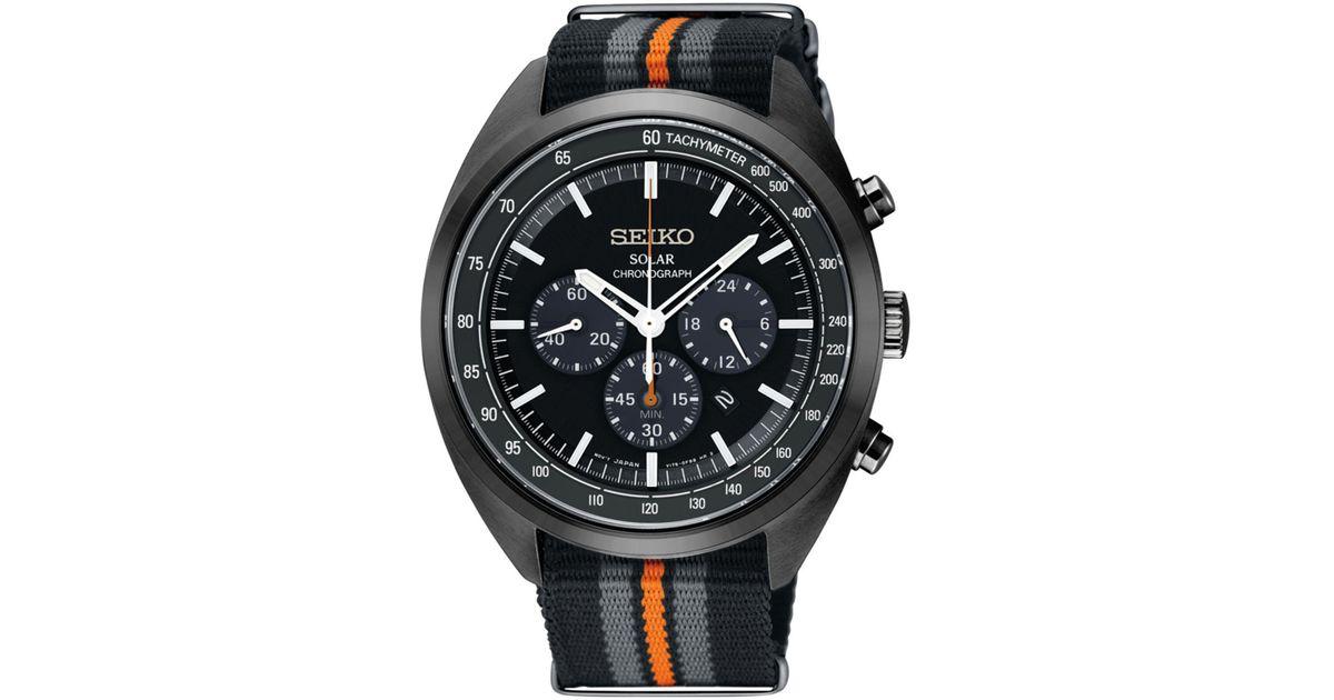 Seiko Men S Solar Chronograph Recraft Series Black Gray Orange