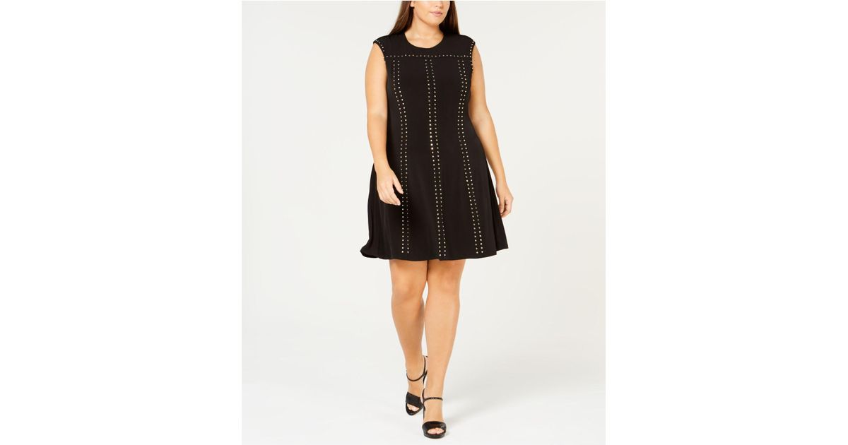 Lyst Calvin Klein Plus Size Studded A Line Dress In Black